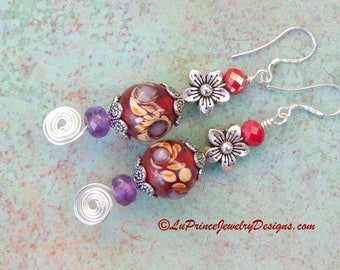 Hand Painted Glass, Flower, and Amethyst, Bohemian Style Earrings