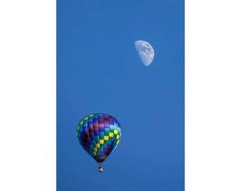 Moon and Hot Air Balloon at the Battle Creek Michigan Balloon Festival No.6823 A Fine Art Aviation Photograph