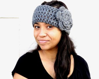Crochet Headband, Ear Warmer With Flower, Crochet, Gray, Adult, Women, Teen,