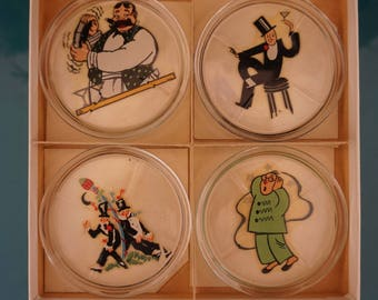 Set of Eight 1940s Glass Coasters