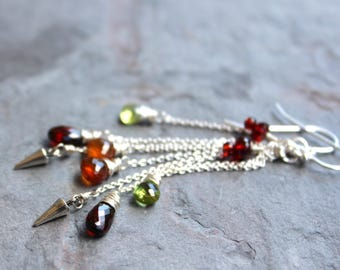 Long Statement Multi Gemstone Earrings Sterling Silver Garnet Peridot Staggered Chains Red Green Orange