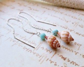 Shell Threader Earrings, Hawaiian Shell Earrings, Larimar Dangle Earrings, Tiny Shell Dangle, Larimar Threader Earrings