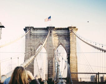 A Walk Across the Brooklyn Bridge, Brooklyn Photo Wall Art, City Home Decor, Travel image, NYC Photography, Cindy Taylor Print