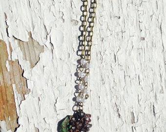 Necklace-Boquet Necklace- Vintage Reclaim-Floral-Flower-Rhinestone-Rusted-Chain-Rosary Bead