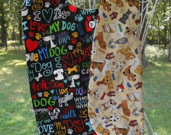 Adult Bib, Reversible with Dog Love. Elder and disabled persons bibs, Chemo bib
