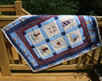 Nautical Baby Quilt, Baby Blanket, Sailboat, Lighthouse quilt, Crib Blanket, Crib Quilt, Red White and Blue