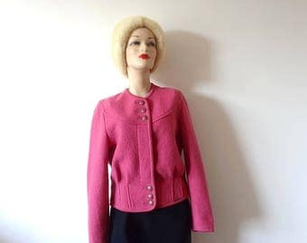 Vintage GEIGER Hot Pink Wool Cardigan Sweater from Austria