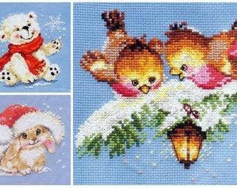 NEW UNOPENED Russian Counted Cross Stitch KIT Alisa Winter Bunny Birds Bear