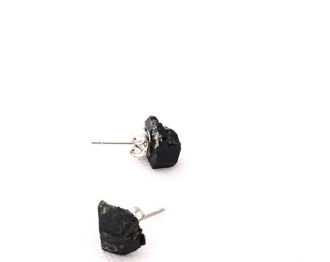 Black Tourmaline Raw Crystal Stud Earrings