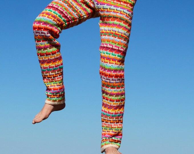 Crochet Pants Psychedelic Neon Stripe M SALE!!