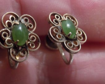 Vintage earrings, Art Nouveau  jade and filigree sterling silver earrings, screw-back earrings, jewelry