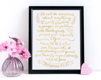 Christian Wall Art ~ Gold Foil ~ Prayer and Petition ~ Philippians 4:6-7 ~ Hand-Lettered Design