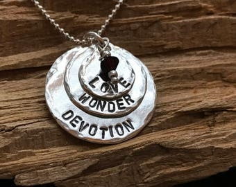 Personalized Discs & Birthstone Necklace - Stacked- Sterling Silver - Graduation, Friendship, Sisters, Christmas, Mom, Grandma Necklace
