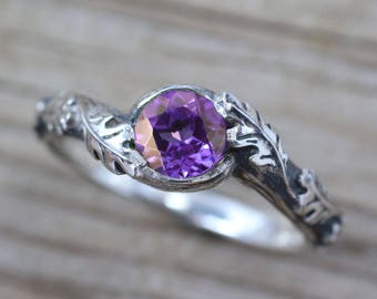 Amethyst Leaf Ring, Silver Leaves Ring With Amethyst, Silver Amethyst Nature Ring, Natural Floral Amethyst Ring In Sterling Silver, Oak Tree