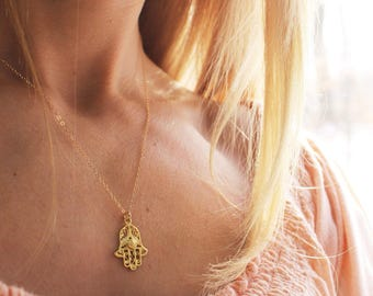 Gold Hamsa Necklace - Hamsa hand necklace, gold Hamsa charm necklace, delicate hamsa necklace, boho jewelry, layering necklace, protection
