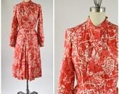 Vintage Red and White Silk Dress School Teacher Dress Neck Tie Belt Waist Pleated Skirt Long Sleeves Size Small
