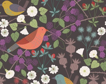 Hedgerow On Earthy Grey  A251.3 - THE HEDGEROW - Lewis and Irene - By the Yard