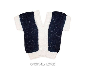 """Vintage 1970s """"An Original By Sondra"""" Dark Blue & White Pull Over Sweater With Two Large White Buttons And Cuffed Short Sleeves"""