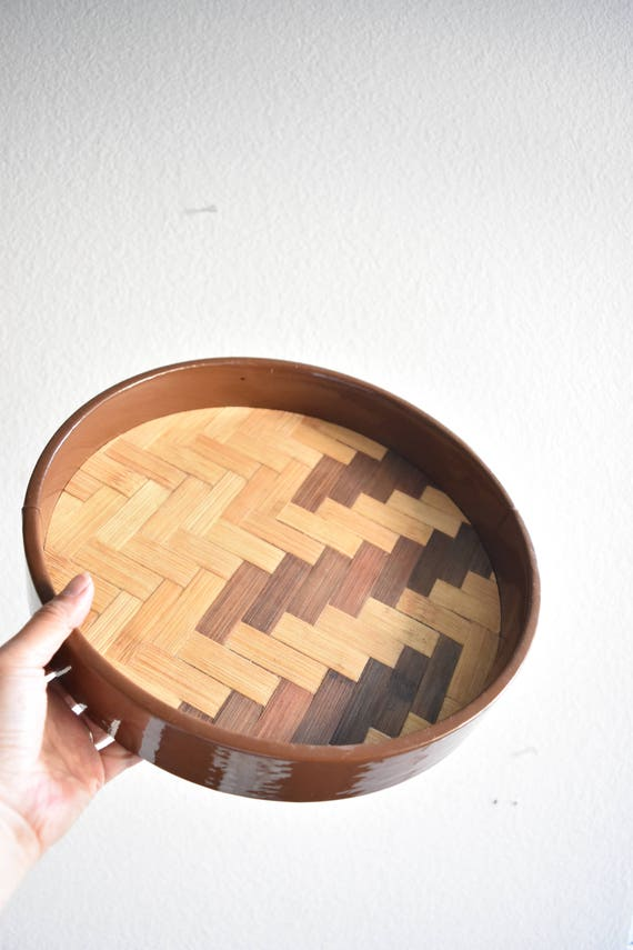 earnest sohn mid century circle woven rattan bamboo wood tray / barware