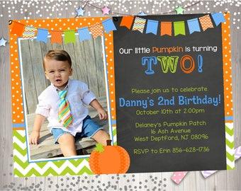 Boy Pumpkin 1st Birthday Invitation invite pumpkin invitation invite photo picture chalkboard October Harvest Birthday DIY Printable