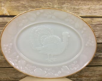 Anchor Hocking Made in USA White Opaque Milk Glass Turkey Platter With Gold Trim
