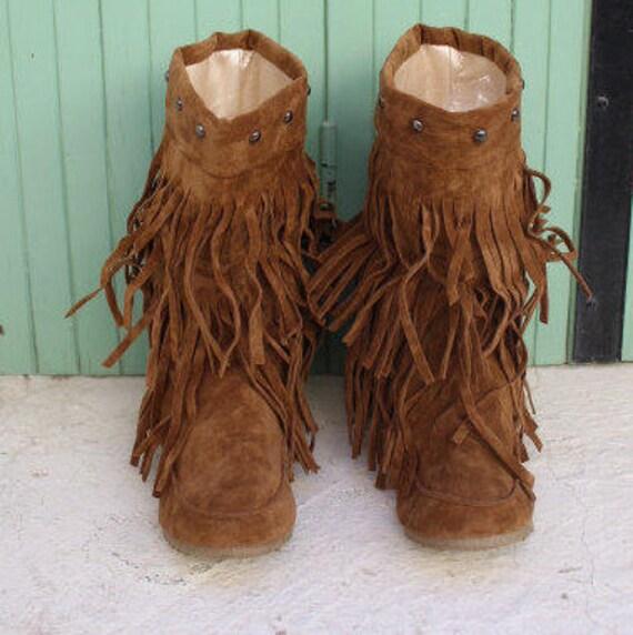 Boho boots,slouch boots, tassel boots, fringe boots bottes a franges femme Chaussures à frange