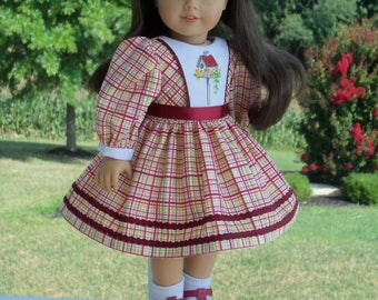 "Embroidered Autumn School Dress / Doll Clothes for American Girl® Kit, Melody, Maryellen or Other 18"" Doll"