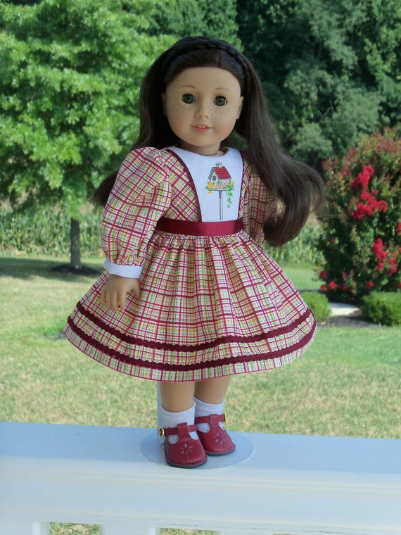 "SUPER SATURDAY SALE! Embroidered Autumn School Dress / Doll Clothes for American Girl® Kit, Melody, Maryellen or Other 18"" Doll"