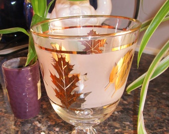 Vintage Gold Leaves Frosted Glass Water Goblet Libbey Maple Oak - Replacement Piece