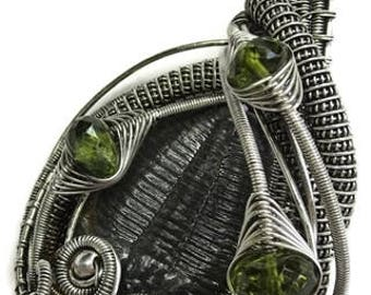 Wire-Wrapped Trilobite Fossil Pendant in Antiqued Sterling Silver with Peridot