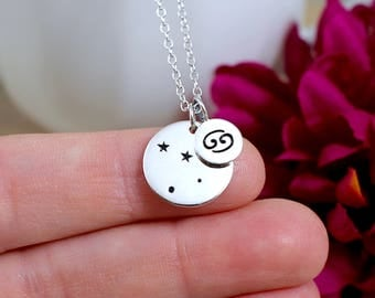 Cancer Star Sign Constellation Necklace Sterling Silver, Cancer Sign Jewelry, Cancer Zodiac Necklace, Cancer Zodiac Gift