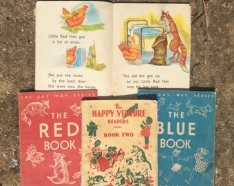 Vintage School Books - 1960s School Books - Gay Way Books - Vintage 50s Books - Teacher Gift - Fox Hen Story Book