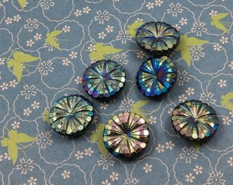 Vintage Costumakers Large Iridescent Plastic Buttons Lot of 6 Fancy Dress