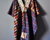 Upcycled Kimono Duster/Vintage Wool Blends/ Kanji Sashiko/Japanese Boro Inspired/Petite to Plus