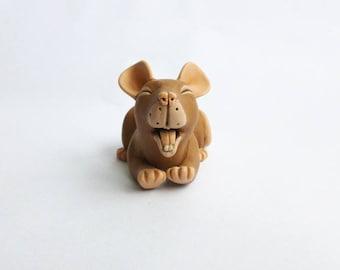 Brown Yawning Agouti Rat Fancy Rat Sculpture Pet Rat Ornament Polymer Clay Mouse Rat