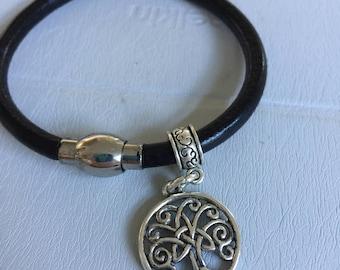 Celtic Silver Tree of Life Leather Bracelet