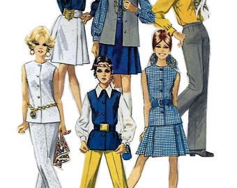 Simplicity 8045 Misses' 60s Skirt, Blouse, Pants and Sleeveless Jacket Sewing Pattern Size 12 Bust 34