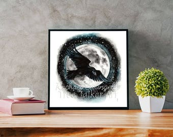 Moonlit Raven -  Raven and Moon Painting - Watercolor Painting by  Rachael Caringella - Tree Talker Art -
