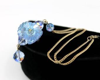 Blue Aurora Borealis Crystal Necklace, Margarita Style Beads, ca. 1960s, Vintage Necklaces