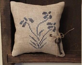 Primitive cross stitch sampler Stoneware Loose Petal Flower cupboard tuck/pinkeep small pillow Priscilla's Pocket