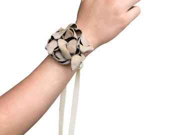 Leather Flower Bracelet - Taupe leather flower - Suede flower bracelet - Boho wedding - wedding bracelet - wedding corsage - prom corsage