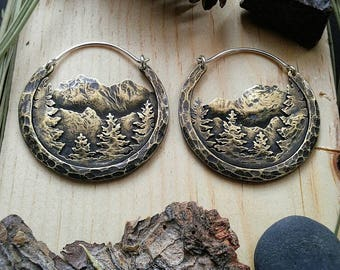 Sierra Nevada Mini Brass Hoop Earrings Ritual Remains Mountain Earrings Mountain Jewelry Witchy Jewelry Mountain Ear Weights Sterling Silver