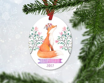 Personalized Christmas Ornament, Baby Girl Keepsake Ornament, Kids Ornament, Stocking Stuffer, Fox with Flowers, Christmas Gift (048)