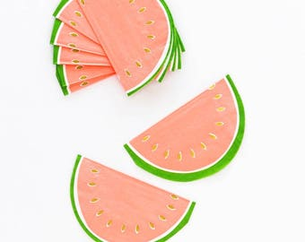 Watermelon Napkins - Pink and Green Party Decor, Summer Table Decor, 1st Birthday Party, Bachelorette Party Decorations, Fruit Cake Smash
