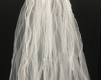 Two Tiered Fingertip length White bridal Veil With Rattail Trim Edging