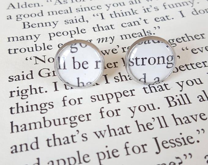 Be Strong Earrings - Stainless Steel - Positivity Earrings - Bookish Earrings - Vintage Book Pages Paper Earrings - Librarian Earrings