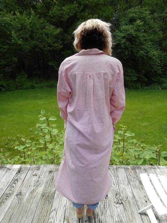 Striped Caftan / Shirt Dress / ButtonDown / pink white / s, m, l .