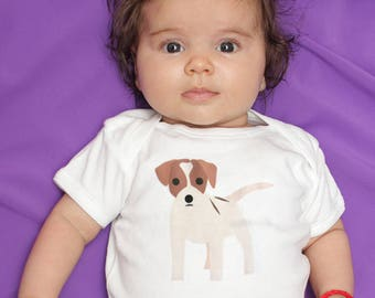 Jack Russell baby clothes, baby bodysuit, baby girl, baby boy, baby shower gift