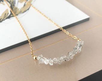 Gold Rough Herkimer Diamond Bar Necklace