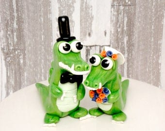Alligator Wedding Cake Toppers Gator Bride and Groom Wedding Decoration Personalized Wedding Ideas